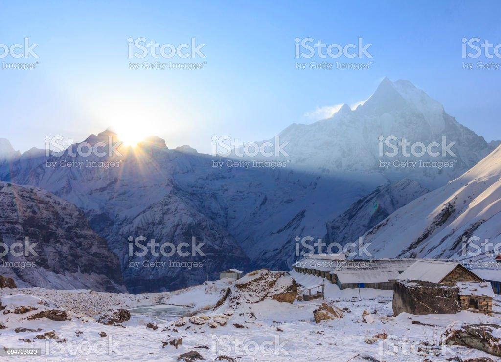 Himalaya Machapuchare mountain with sunrise, at Annapurna base camp, Nepal stock photo