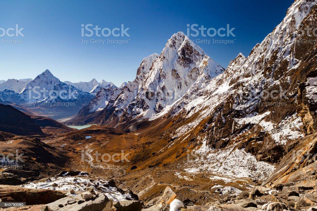Himalaya Mountain Peaks from Cho La pass, Inspirational Autumn Landscape stock photo