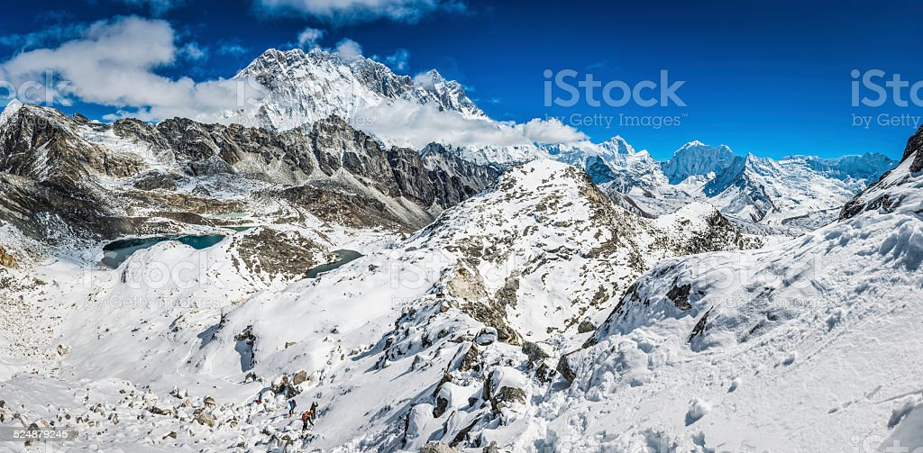 Himalaya mountain peaks high altitude snowy summit wilderness panorama Nepal stock photo