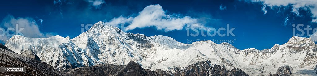 The south face and snow capped summit of Cho Oyu , the world\'s sixth...