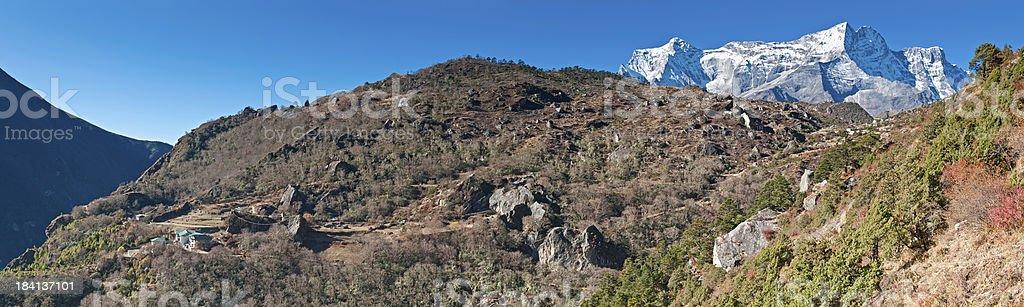 Himalaya mountain trail Everest National Park panorama Nepal royalty-free stock photo