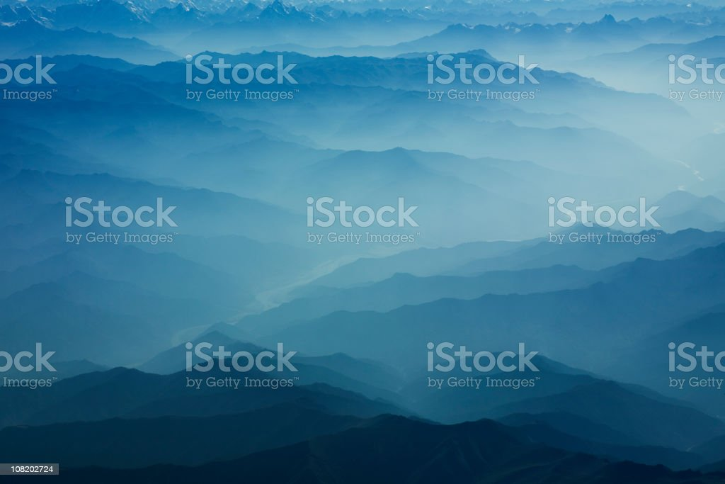 Himalaya Mountains Covered in Mist and Fog royalty-free stock photo