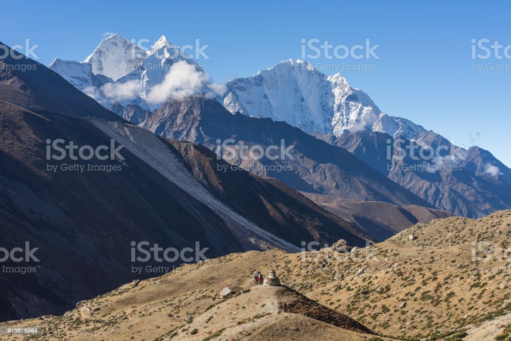 Himalaya mountains view from Dingboche village, Everest region, Nepal stock photo