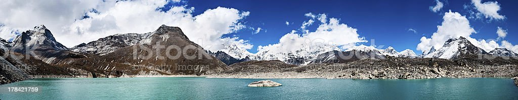 Himalaya panorama: sacred lake near Gokyo and Everest summit royalty-free stock photo