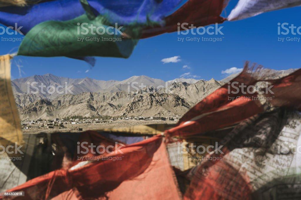 Himalaya view though prayer flags stock photo