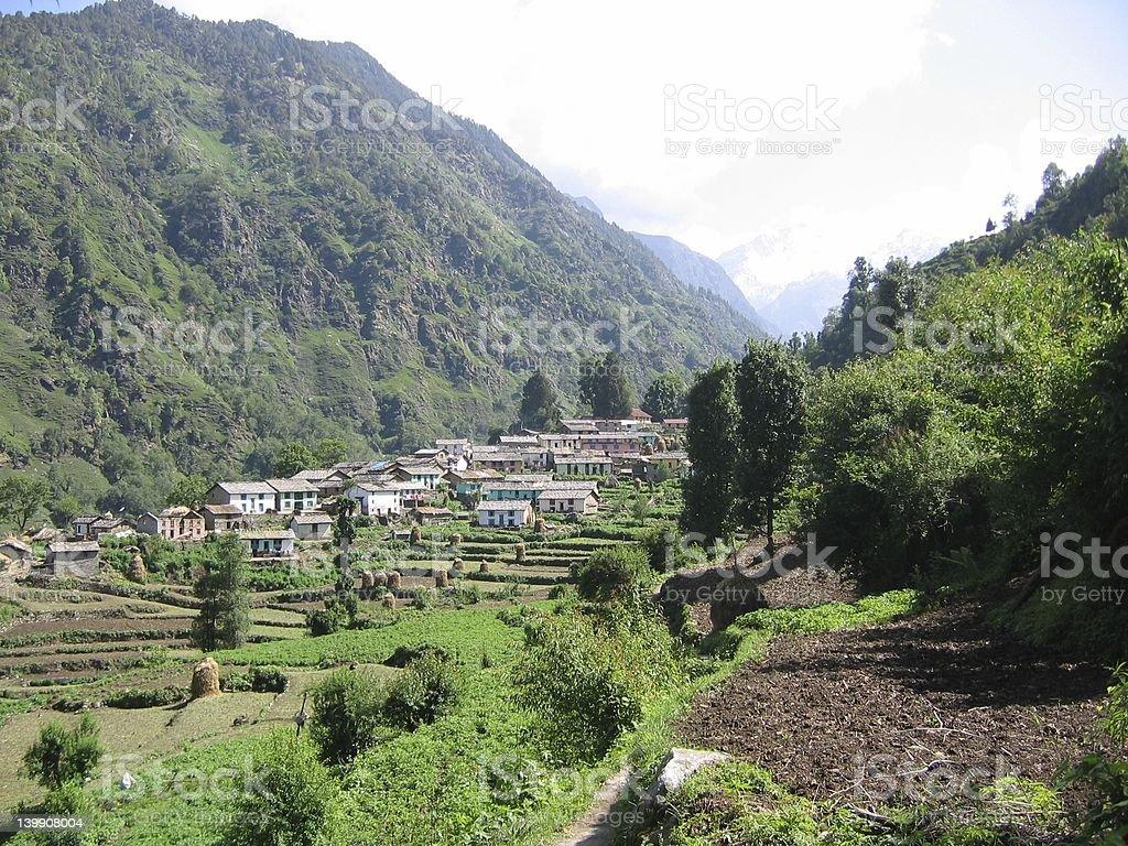 Himalaya village stock photo