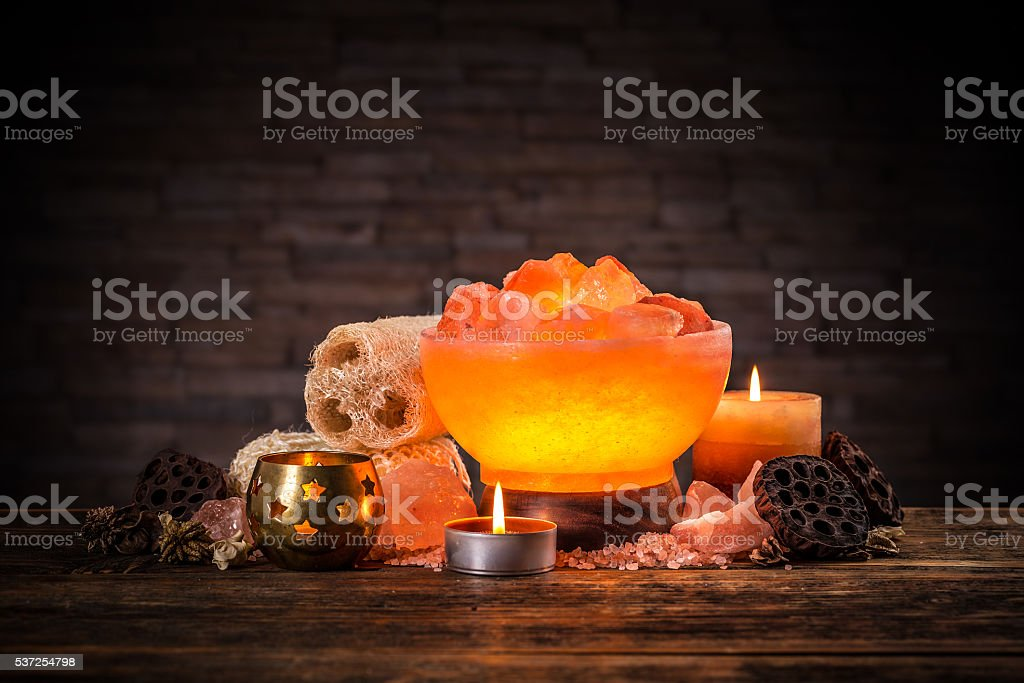 Himalayan crystal lamp stock photo