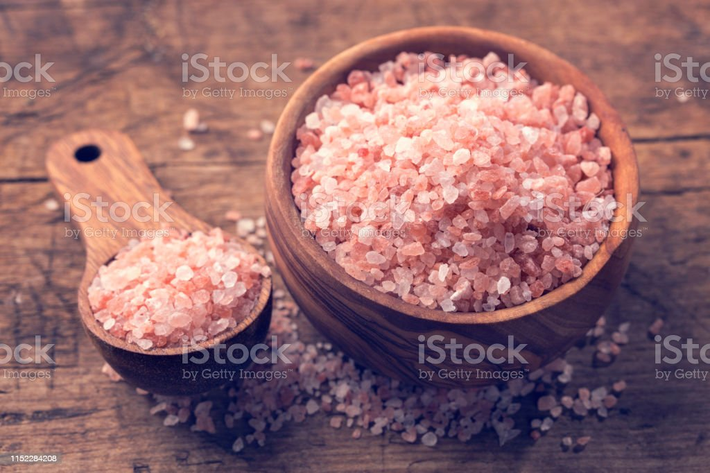 Himalayan Crystal Salt in a wooden bowl
