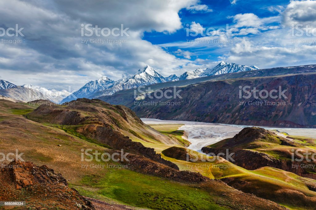 HImalayan landscape in Himalayas, Himachal Pradesh, India stock photo