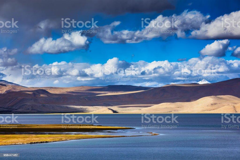 Himalayan mountain lake Tso Moriri, Ladakh stock photo