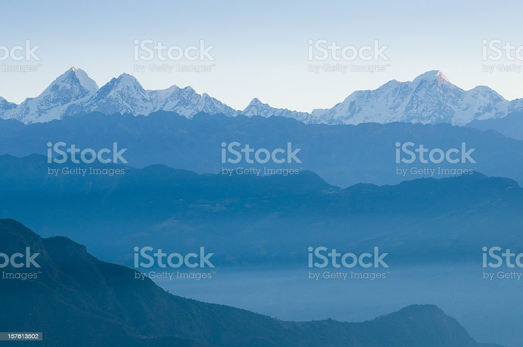 Himalayan mountains dawn stock photo
