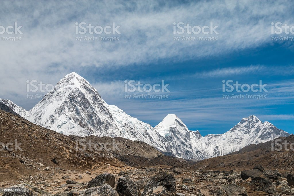 Himalayan mountains during Mount Everest Base Camp Trek in Nepal stock photo