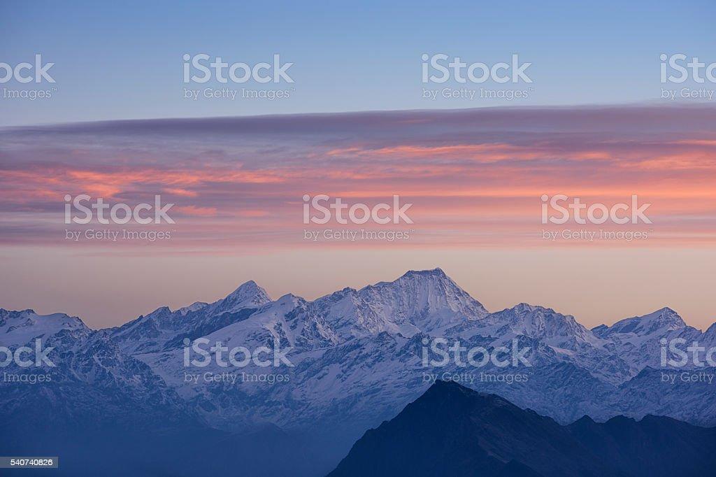 himalayan mountains from Laurebina Yak stock photo