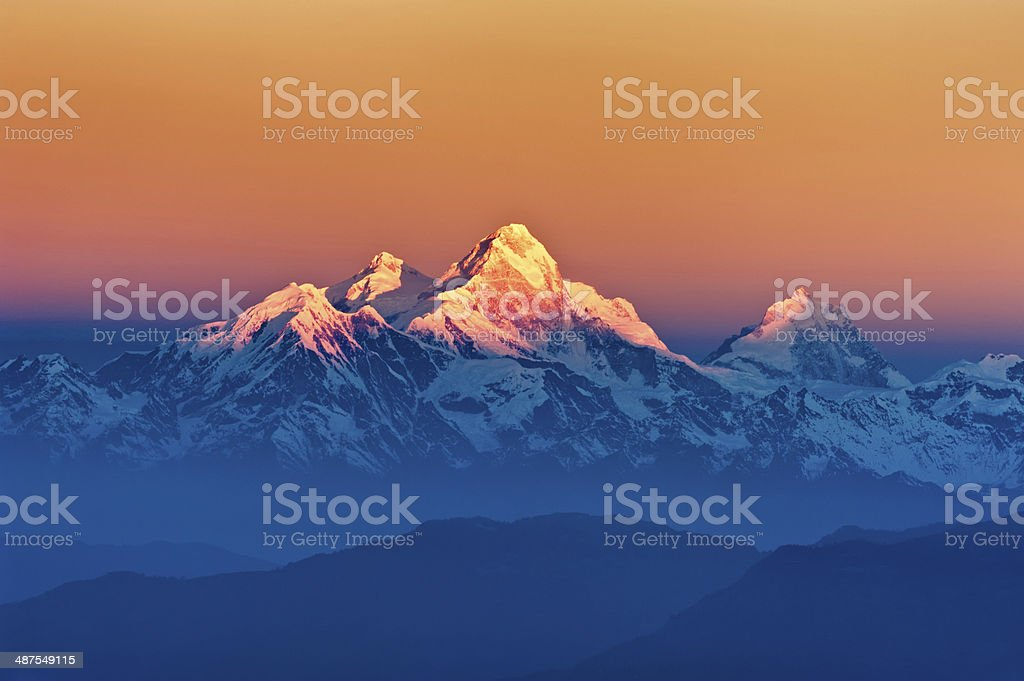 Himalayan Mountains View from Mt. Shivapuri stock photo