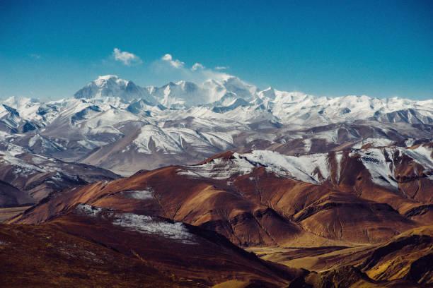 Himalayan panorama on Mount Everest stock photo