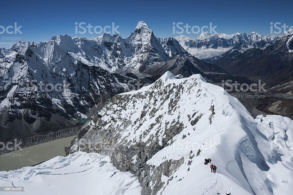 Himalayan Range, view from Island peak(6189m) summit stock photo