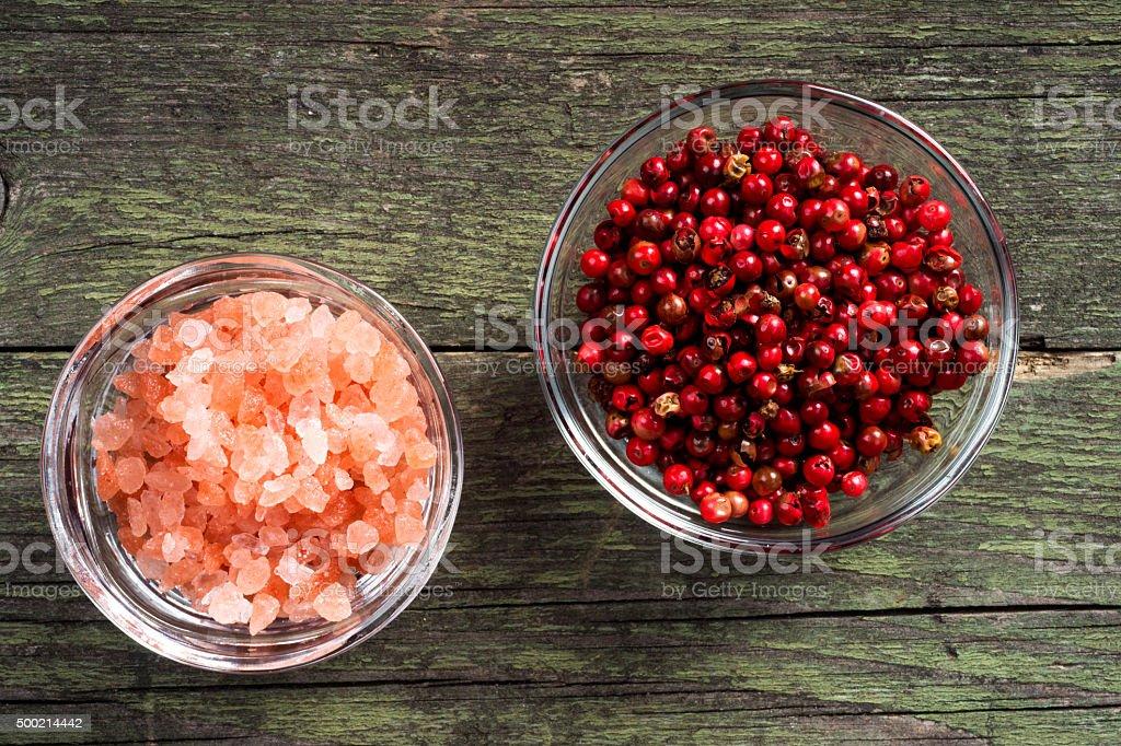 himalayan salt and pepper stock photo