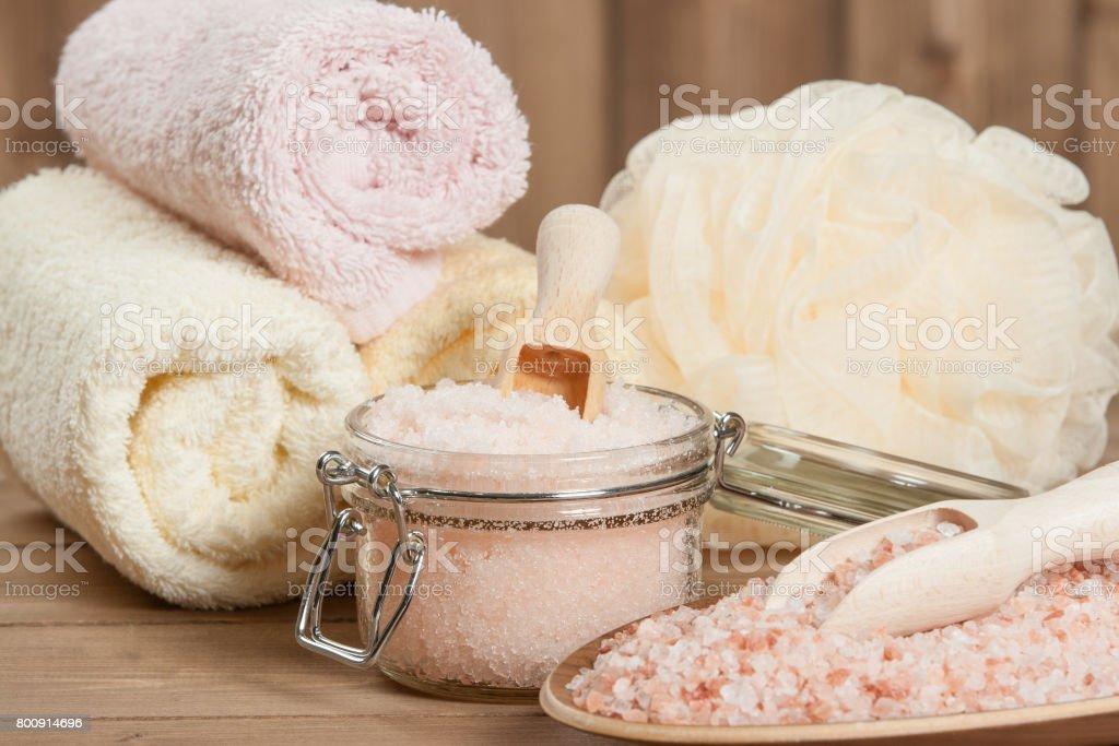 Himalayan Salt In Jar. Towels. Spa Set. stock photo