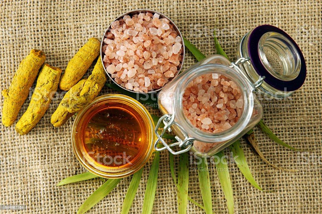 Himalayan salt with honey stock photo