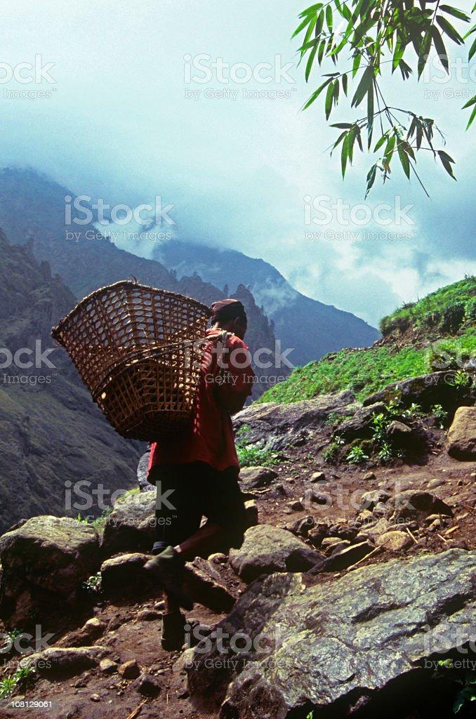 Himalayan Sherpa Climbing Mountain royalty-free stock photo