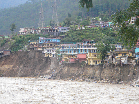 Himalayan tsunami or flood in Ganges India. The Ganges River has been heavily flooded in 2012 and
