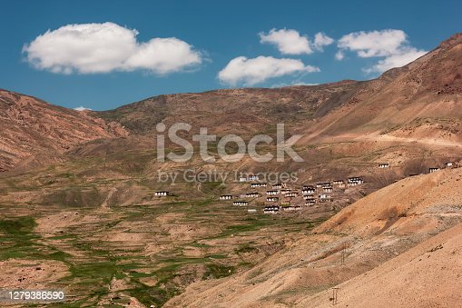 The village of Chicham  on the slopes of a high mountain in the Spiti Valley.