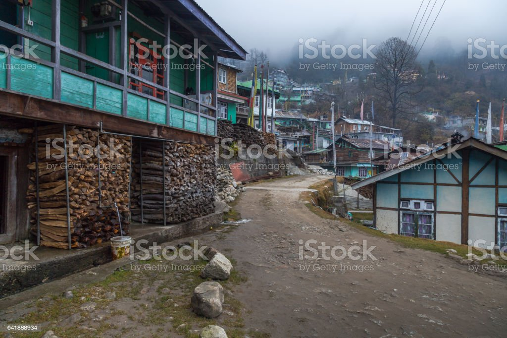 Himalayan village town of Lachen, Sikkim, India. stock photo