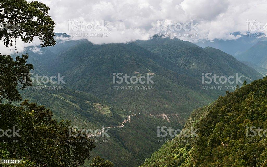 Himalayas and highway to Tawang, Arunachal Pradesh, India. stock photo