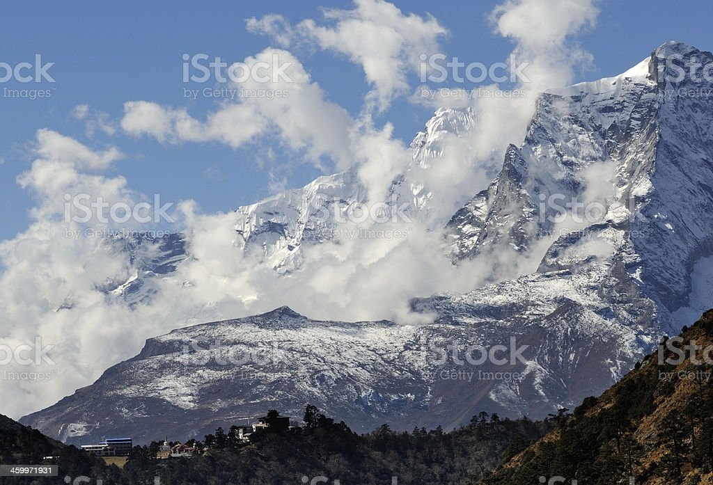 Himalayas mountain landscape. View on Tengboche village (3860 m). royalty-free stock photo