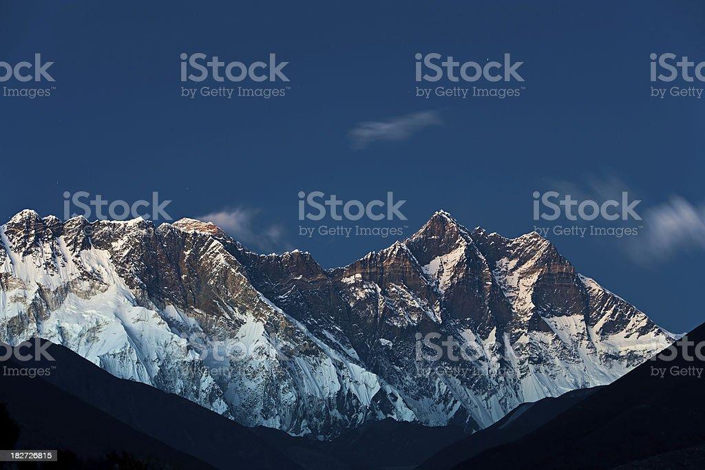 Himalayas panorama - Lhotse at night royalty-free stock photo