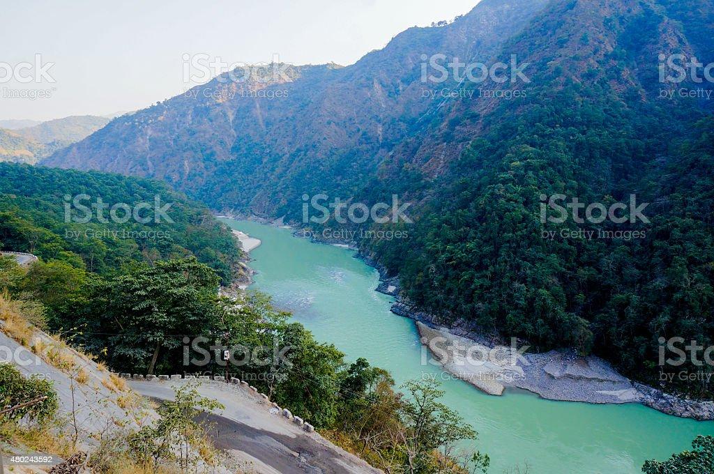 himalya mountains & ganga river in rishikesh stock photo