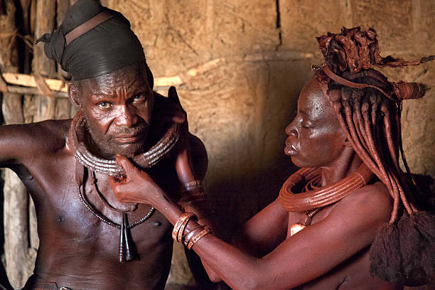 Himba couple stock photo
