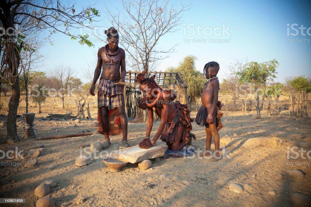 Himba Family Village Close Kunene River Epupa Namibia