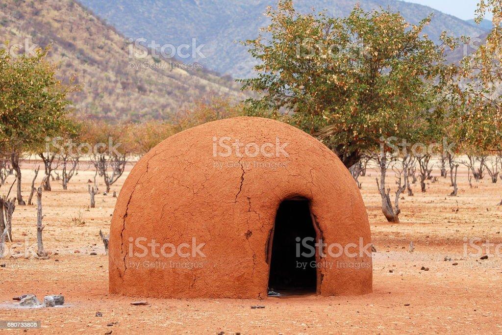 Himba hut in Namibia stock photo