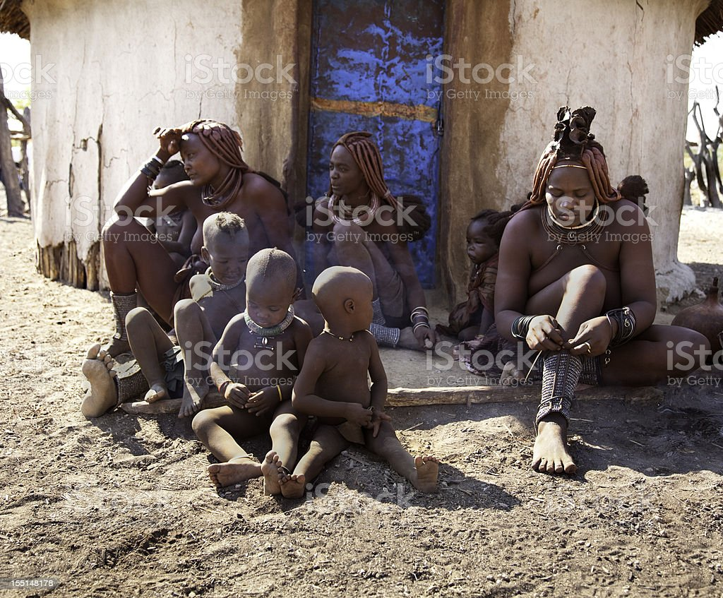 Himba tribe family stock photo