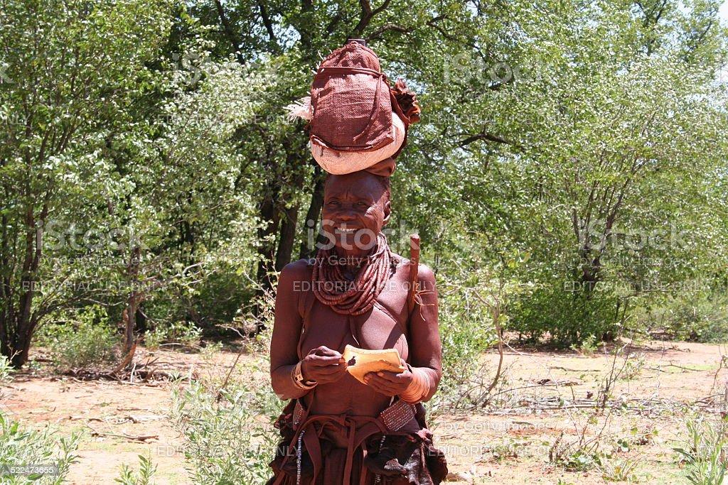Himba Woman Near Epupa Falls Namibia Stock Photo