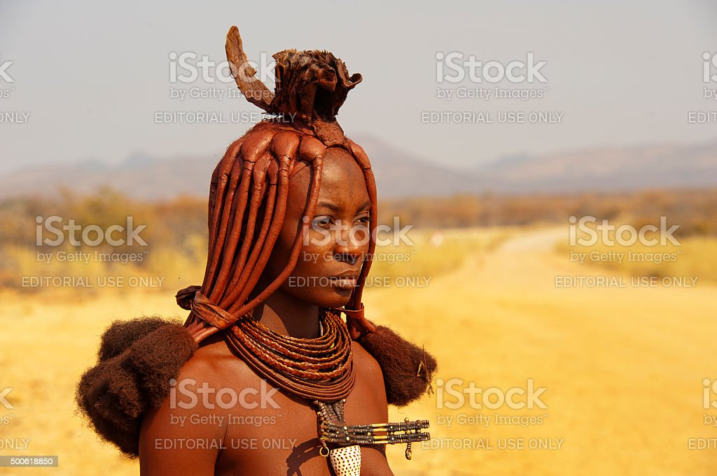 Himba woman near Epupa Falls, Namibia stock photo