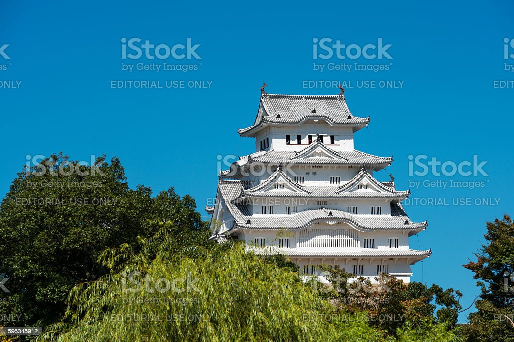 Himeji Castle in Japan against a clear blue sky royalty-free stock photo