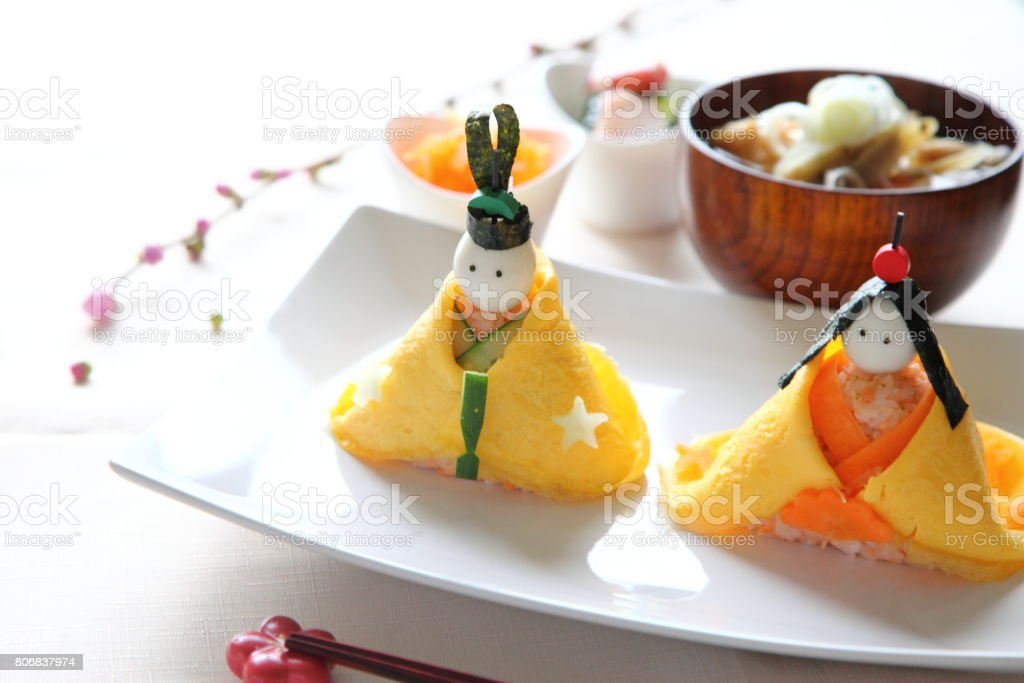 Hina Doll Shaped Rice Ball Bento for the Doll's festival on March the third in JAPAN stock photo