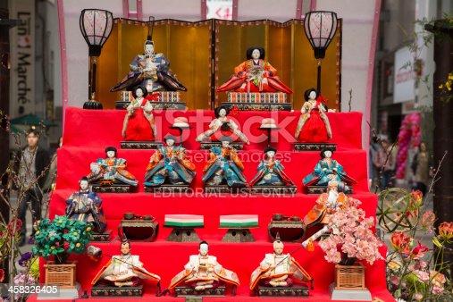 Kumamoto, Japan - March 9, 2013 : Hina doll set displayed at the Shimotori Shopping Street in Kumamoto to celebrate the Hinamatsuri, also called Girls' Day in Japan.