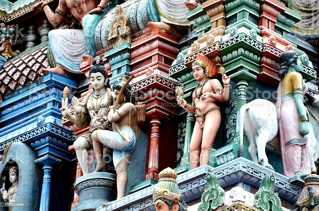 Hindu Architecture God Statue Depicting Cynicism royalty-free stock photo