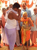 BHADRAK, ODISHA, INDIA - 04 March 2018: Hindu brahmin Upanayana or The sacred thread ceremony. His entry into the Brahmacharya stage of life.The sacred thread (yagyopavita or janeu) is received by the boy during this ceremony, that he continues wearing across his chest thereafter.It is one of the traditional rites of passage that marked the acceptance of a student by a guru (teacher) and an individual's entrance to a school in Hinduism. The tradition is widely discussed in ancient Sanskrit texts of India and varies regionally.