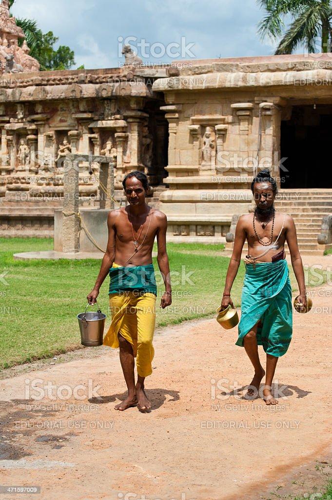 Hindu Brahmins at Gangaikonda Cholapuram Temple. India stock photo