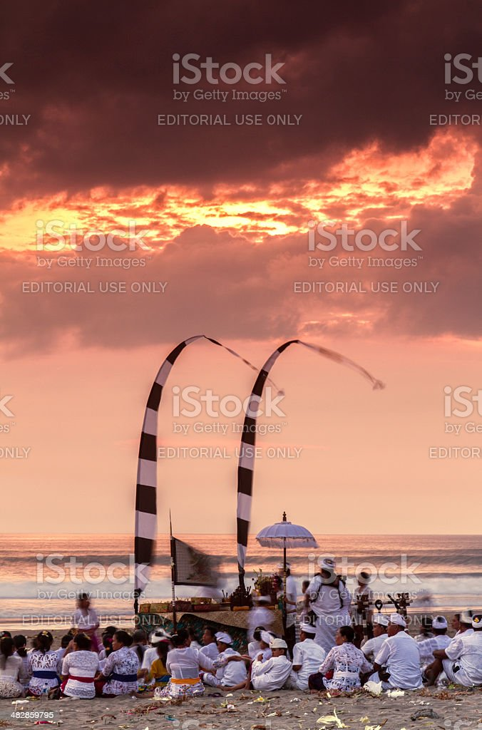 Hindu ceremony in Bali at sunset stock photo