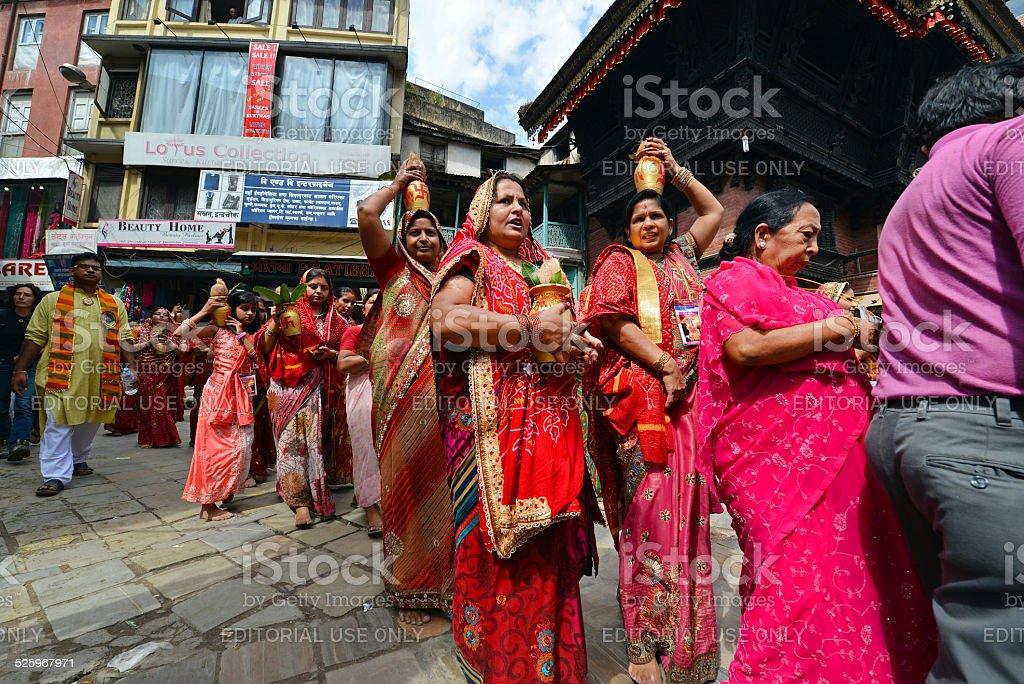 Hindu ceremony in Kathmandu, Nepal stock photo