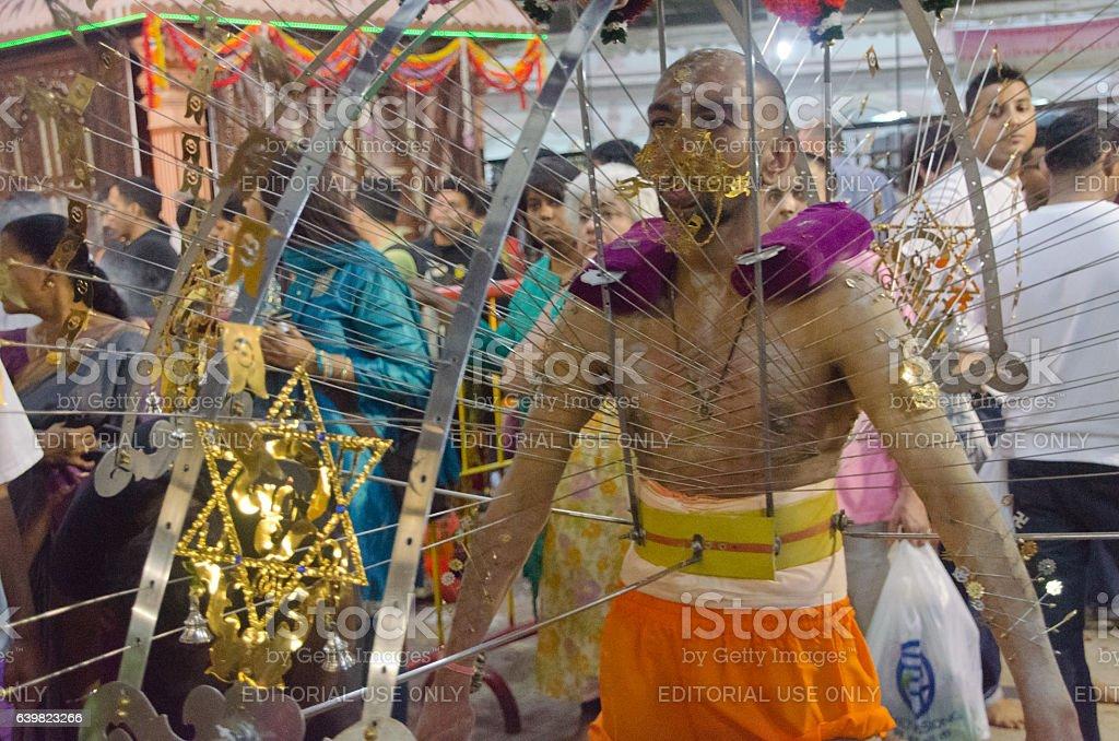 Hindu devotee carrying the kavadi stock photo