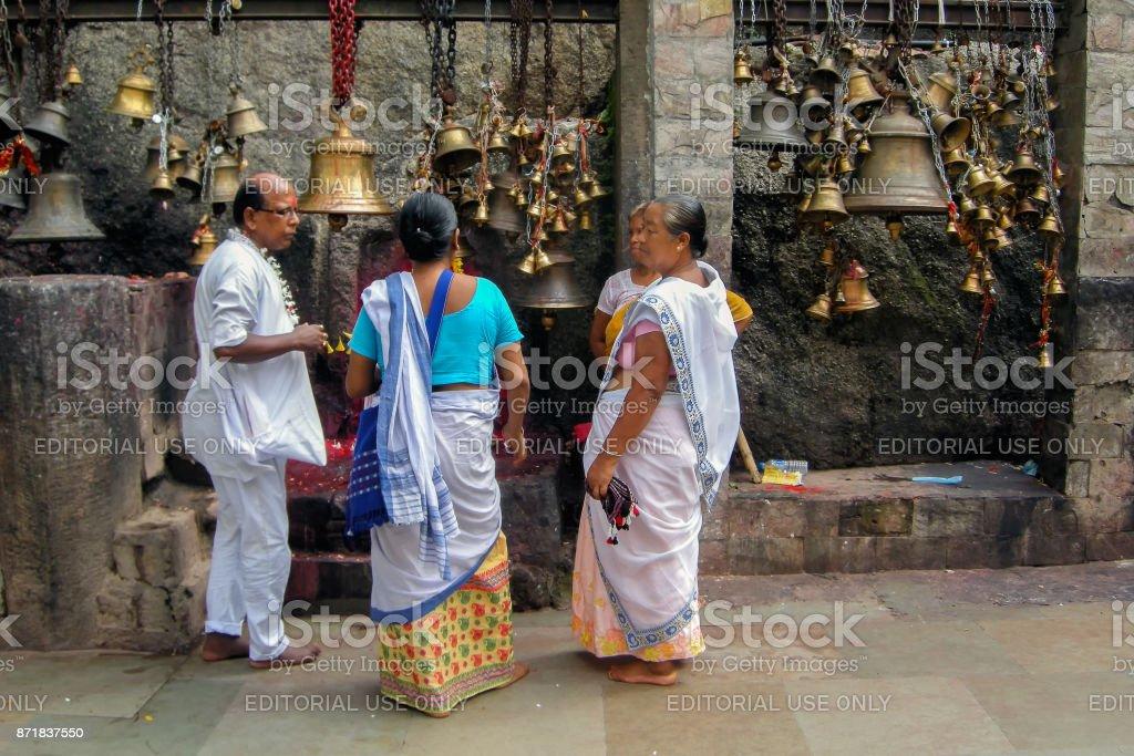 Hindu devotees at Kamakhya Temple, Guwahati, Assam. stock photo