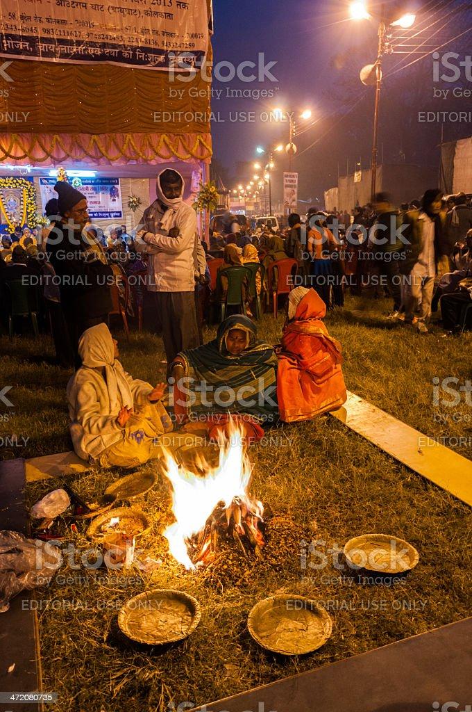 Hindu devotees , Babughat, Kolkata royalty-free stock photo