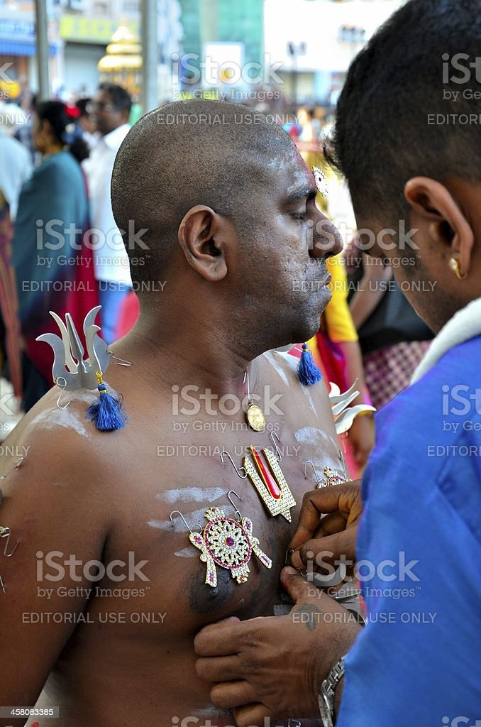 Hindu devotees prepare for Thaipusam festival, Singapore stock photo