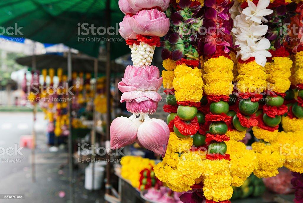 Hindu Flower Offerings For Sale Bangkok Thailand stock photo